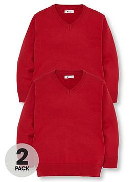 v-by-very-2-pack-v-neck-knitted-school-jumpers-red