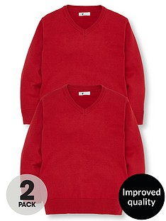 v-by-very-boys-2-pack-v-neck-knitted-school-jumpers-red