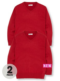 v-by-very-schoolwear-boys-v-neck-school-jumpers-red-2-pack