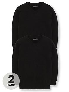 v-by-very-boys-2-pack-v-neck-school-jumpers-black