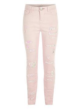 Girls light pink ripped skinny sequin jeans - Denim - Sale - girls