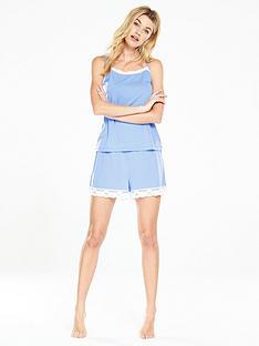 v-by-very-lace-trim-short-set-sky-blue