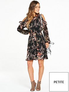v-by-very-petite-petite-cold-shoulder-frill-woven-floral-dress
