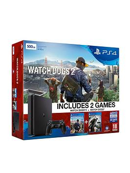 playstation-4-slim-500gb-console-with-watch-dogs-2-and-watch-dogs-plus-optional-extra-controller-andor-12-months-playstation-network