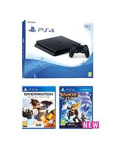 playstation-4-slim-500gb-black-console-with-ratchet-amp-clank-and-overwatch-plus-optional-extra-controller-andor-12-months-playstation-network