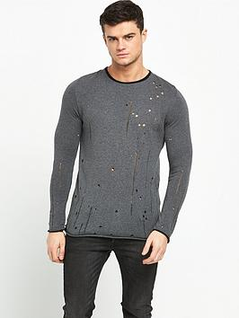river-island-distressed-knitted-slim-fit-jumper