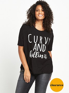 v-by-very-curve-soft-rib-slogan-t-shirt-black