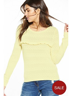 v-by-very-frill-front-pointelle-knit-jumper