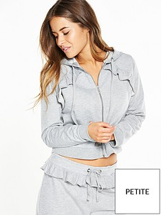v-by-very-petite-petite-zip-through-hoodie-with-ruffle-detail-grey