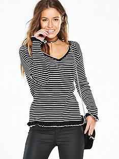 v-by-very-petite-frill-hem-amp-cuff-knittednbspjumper-stripe