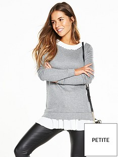 v-by-very-petite-petite-woven-frill-sweat-top-grey