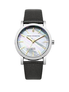 french-connection-french-connection-ladies-mother-of-pearl-and-diamond-dial-black-strap-watch