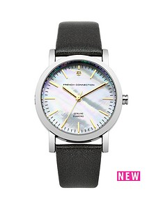 french-connection-ldquofrench-connection-ladies-mother-of-pearl-and-diamond-dial-black-strap-watchrdquo
