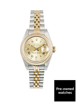 rolex-rolex-bimetal-datejust-champagne-roman-numeral-and-diamond-26mm-dial-steel-and-18k-yellow-gold-ladie