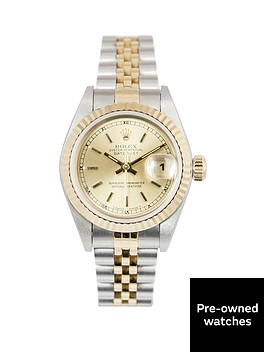 rolex-rolex-bimetal-datejust-champagne-baton-26mm-dial-steel-and-18k-yellow-gold-ladies-watch-including-pa