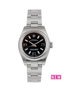 rolex-rolex-oyster-perpetual-black-3-6-and-9-26mm-dial-stainless-steel-ladies-watch-2009-pre-owned
