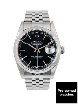 rolex-rolex-datejust-original-black-baton-36mm-dial-stainless-steel-men039s-watch-2004-pre-owned