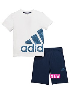 adidas-younger-boys-logo-shorts-set