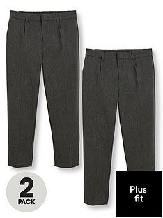 v-by-very-schoolwearnbspboys-2-pack-classic-woven-plus-fit-school-trousers-grey