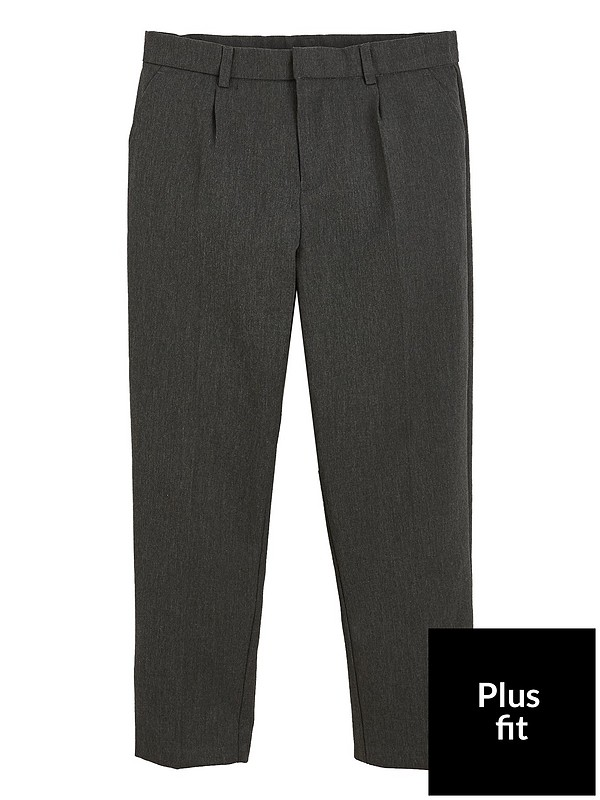 5e7df9a843 V by Very Boys 2 Pack Classic Woven Plus Fit School Trousers - Grey |  very.co.uk