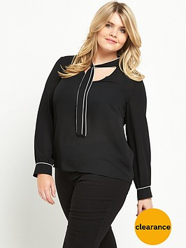 v-by-very-curve-contrast-piping-tie-front-blouse-black