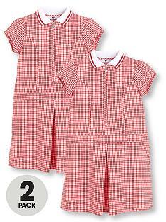 f20bc3f171db V by Very Schoolwear Girls Rib Collar Gingham School Dresses - Red (2 Pack)