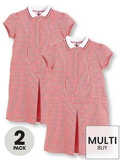 v-by-very-schoolwearnbspgirls-rib-collar-gingham-school-dresses-red-2-pack