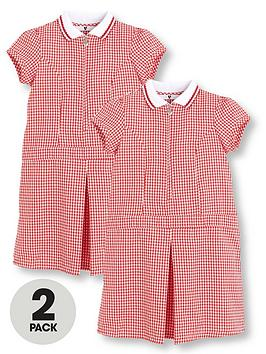 v-by-very-schoolwearnbspgirls-rib-collar-gingham-school-dresses-red-2-pack