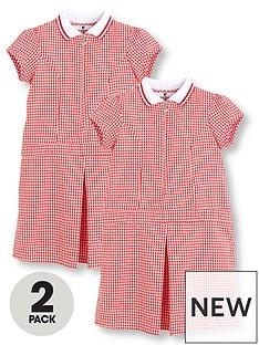 63bc1d8b5f8 V by Very Schoolwear Girls Rib Collar Summer Gingham School Dresses - Red  (2 Pack)