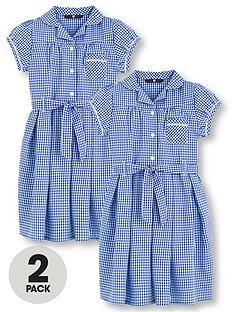 7af66b87b9a V by Very Schoolwear Girls Traditional Gingham School Dresses - Blue (2  Pack)