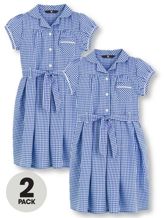 8d6db3f9 V by Very 2 Pack Girls Traditional Summer Gingham School Dresses - Blue