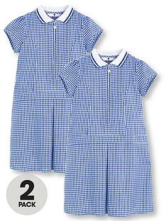 v-by-very-schoolwearnbspgirls-rib-collar-gingham-school-dresses-blue-2-pack