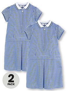 4f17be8c903 V by Very Schoolwear Girls Rib Collar Gingham School Dresses - Blue (2 Pack)