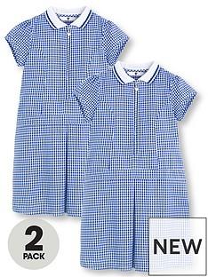 v-by-very-schoolwearnbspgirls-rib-collar-summer-gingham-school-dresses-blue-2-pack