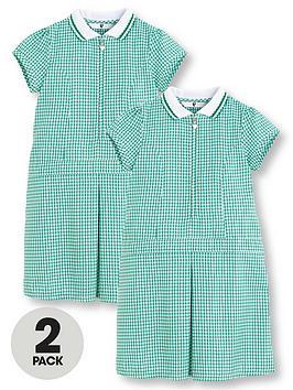 v-by-very-2-pack-girls-rib-collar-summer-gingham-school-dressesnbsp--green