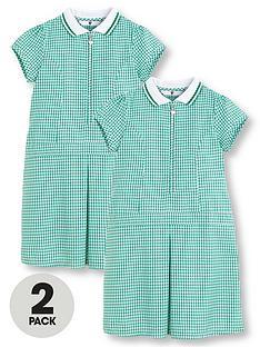 v-by-very-schoolwearnbspgirls-rib-collar-gingham-school-dressesnbsp--green-2-pack