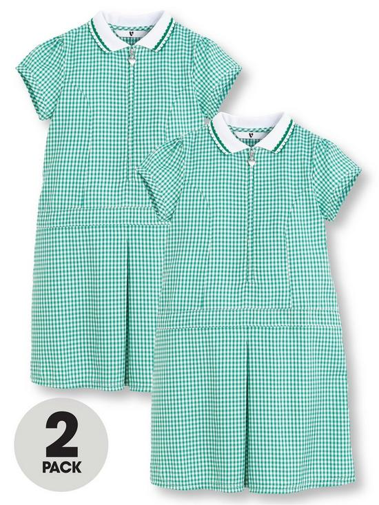 bbf4d04d V by Very 2 Pack Girls Rib Collar Summer Gingham School Dresses - Green