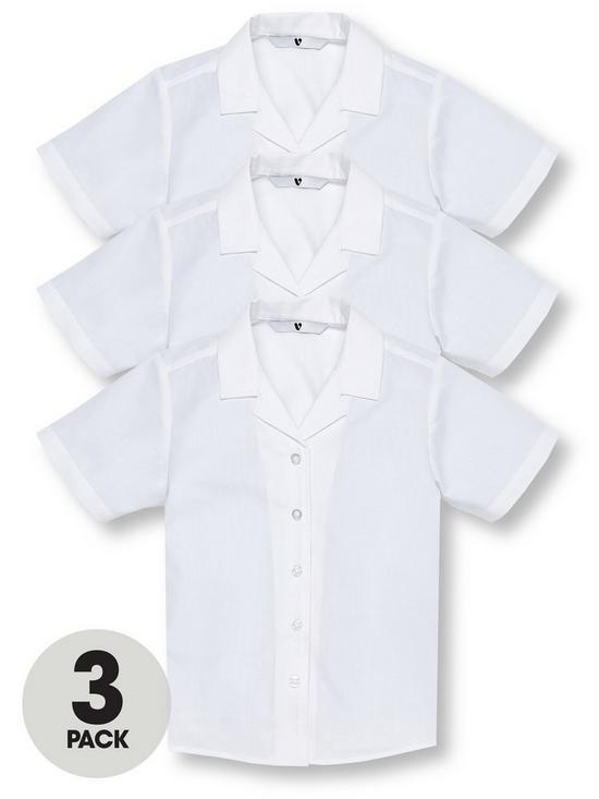 ec87a057fa1fd5 V by Very Girls 3 Pack Revere Collar Short Sleeve School Shirts - White