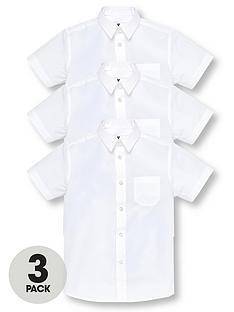 b1447582 V by Very Boys 3 Pack Short Sleeved School Shirts - White
