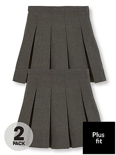 41e5b2f53 V by Very Girls 2 Pack Classic Pleated Woven Plus Fit School Skirt - Grey