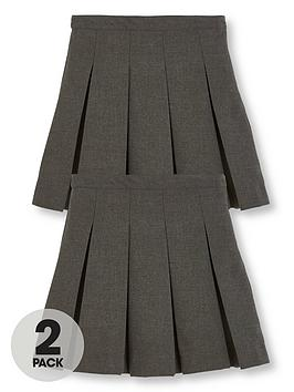 V By Very Girls 2 Pack Classic Pleated Woven School Skirt Plus Fit thumbnail