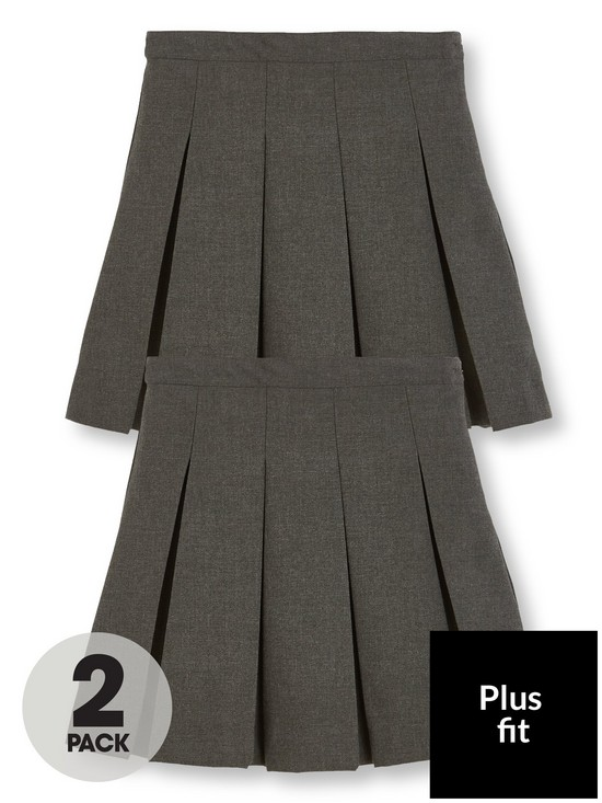 785cc87777 V by Very Girls 2 Pack Classic Pleated Woven Plus Fit School Skirt - Grey