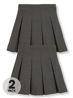 v-by-very-girls-2-pack-classic-pleated-woven-school-skirts-grey