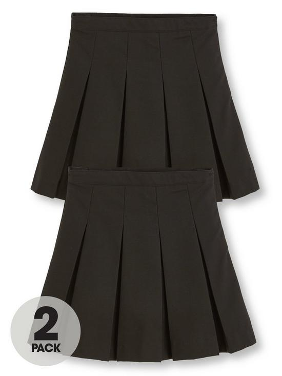 ff5def40fb V by Very Girls 2 Pack Classic Pleated Woven School Skirts - Black ...