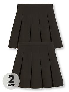 v-by-very-schoolwear-girls-classic-pleated-plus-fit-school-skirts-blacknbsp2-pack