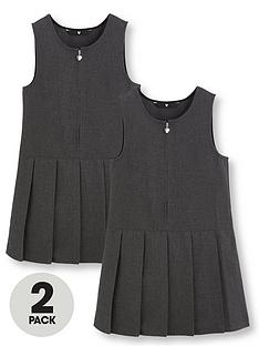 v-by-very-girls-2-pack-pleated-pinafore-school-dresses-grey