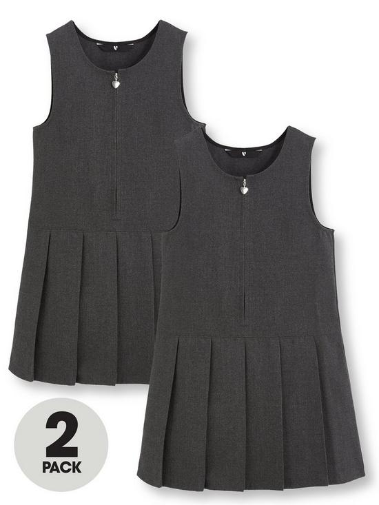 90b1a4f22 V by Very Girls 2 Pack Pleated Pinafore School Dresses - Grey | very ...