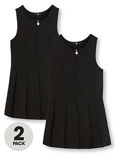 v-by-very-girls-2-pack-pleated-pinafore-school-dresses-black