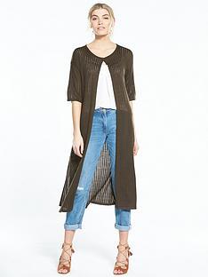 v-by-very-short-sleeve-easy-rib-midi-cardigan