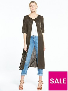 v-by-very-short-sleeve-easy-rib-midi-cardigan